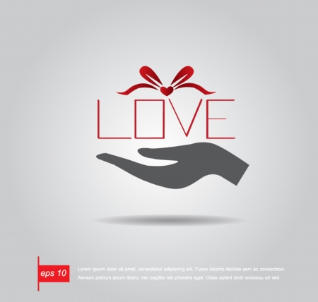 hand hold  text love  like gift box vector icon Vector