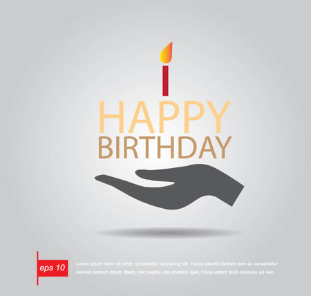 hand hold text happy birthday like cake vector icon