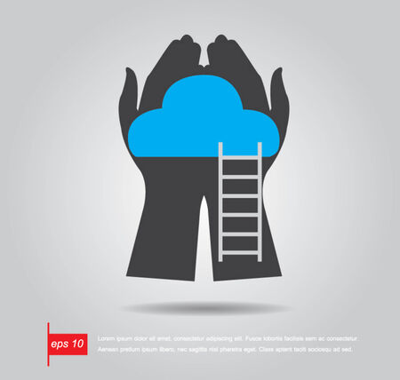 saas: hand hold cloud and ladder vector icon