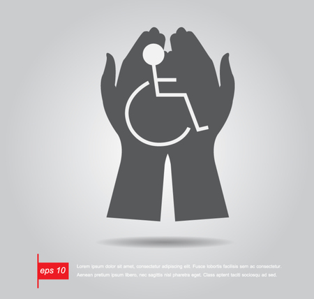 disability: hand hold disabled sign vector icon