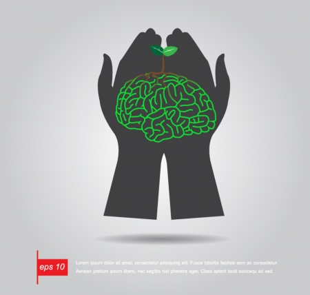 hand hold Brain  tree illustration, tree of knowledge vector icon Illustration