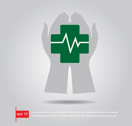 electrocardiograph: hand hold pharmacy cross and Heartbeat electrocardiograph icon vector Illustration