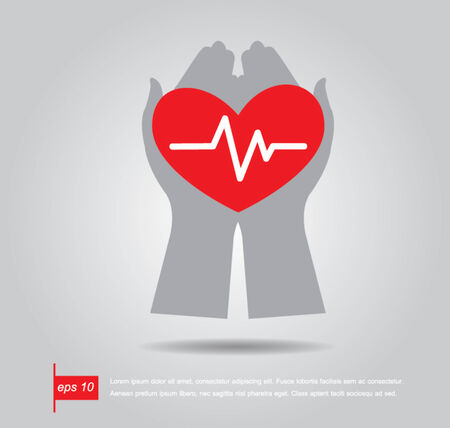 electrocardiograph: hand hold  heart of Heartbeat electrocardiograph icon vector