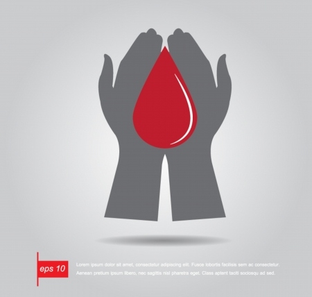 hand hold shaped blood drop vector icon Vector