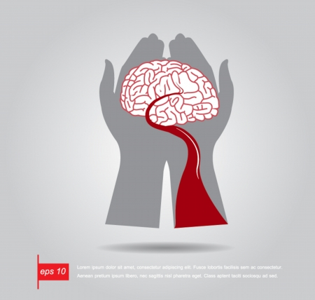 hand hold brain and blood vector icon Vector