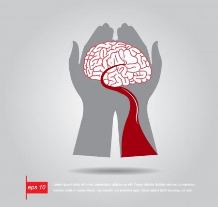 hemorrhage: mano tenere il cervello e vettore icona sangue