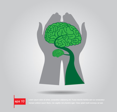 hand hold Brain Bonsai tree illustration, tree of knowledge vector icon Vector