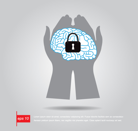 hand hold keyhole on the brain vector illustration Vector