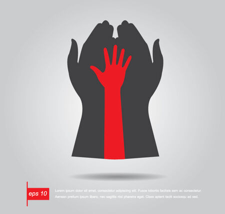 red hand: hand hold red hand vector icon Illustration