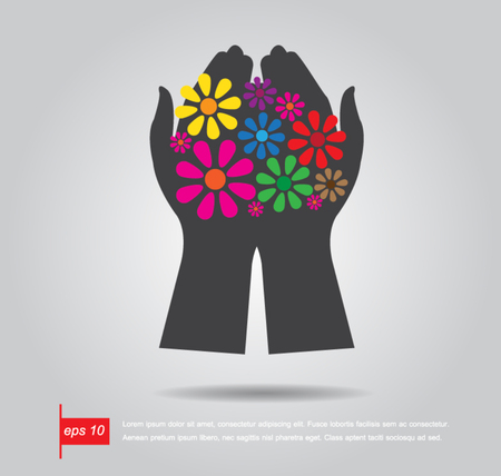 hand hold flower icon vector Vector