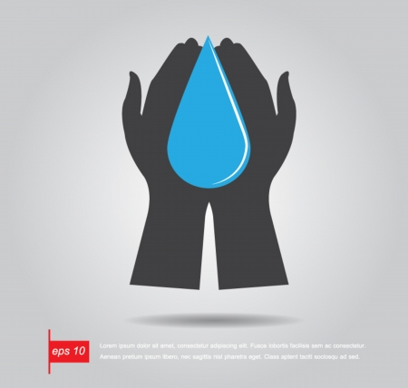 hands holding earth: hand hold water drop vector icon