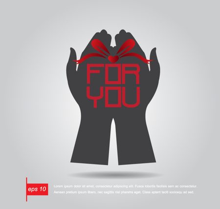 hand hold boxgift and text for you vector icon