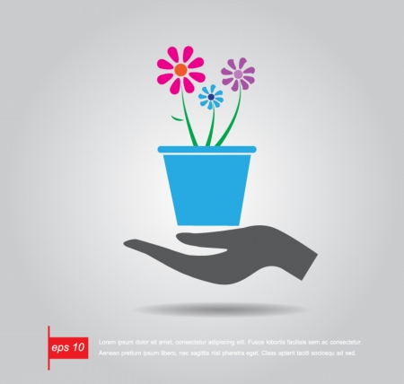 hand hold  flowerpot and plant vector icon Vector
