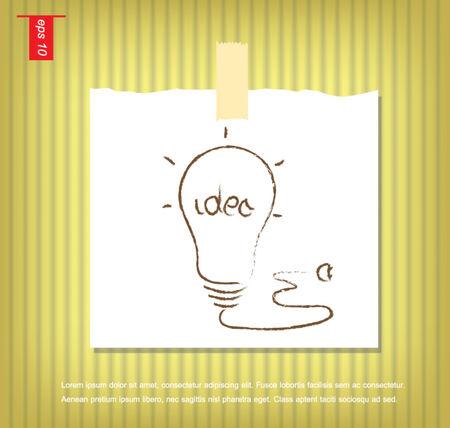 sticky tape: idea del bulbo en papeles de nota con una cinta adhesiva pegada en la pared