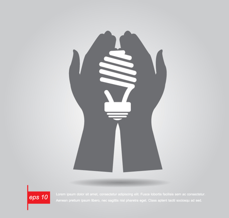 hand hold bulb vector icon