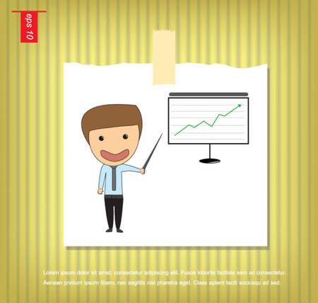 investor: business man stock investor vector in Note Papers with a sticky tape stuck on the wall Illustration