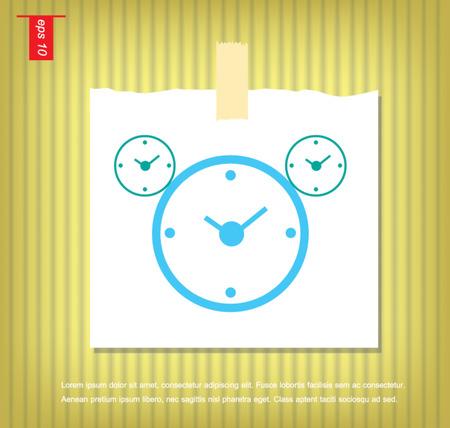 sticky tape: icono de hora del reloj en papeles de nota con una cinta adhesiva pegada en la pared Vectores