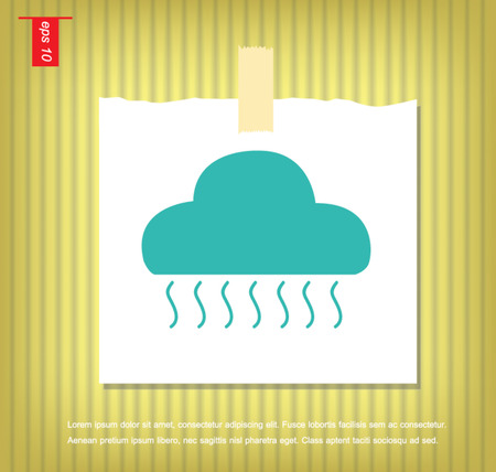 cloud and rain icon in Note Papers with a sticky tape stuck on the wall Vector