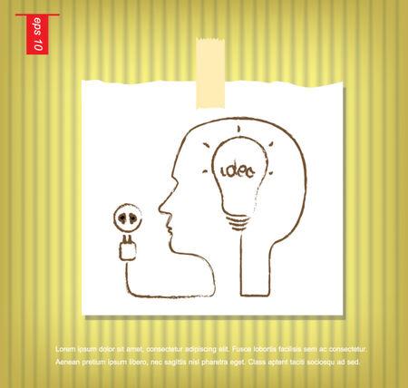 sticky tape: humano y el cerebro de enchufe idea bombilla en la mano escribe en papeles de nota con una cinta adhesiva pegada en el icono de la pared vector