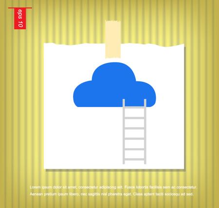 sticky tape: ilustraci�n escalera de nubes en papeles de nota con una cinta adhesiva pegada en el icono de la pared vector