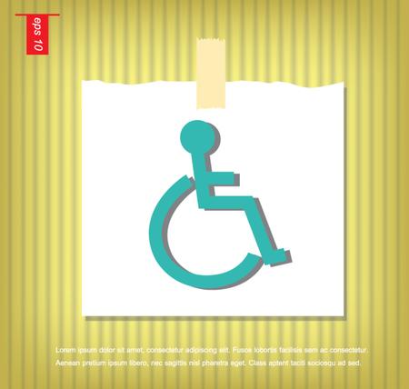 sticky tape: discapacitados signo icono del vector en papeles de nota con una cinta adhesiva pegada en el icono de la pared vector