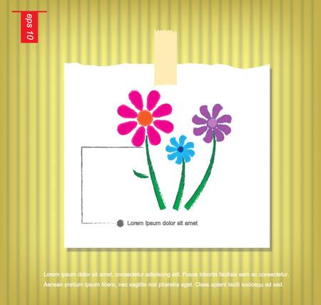 sticky tape: flores del vector en papeles de nota con una cinta adhesiva pegada en el icono de la pared vector Vectores