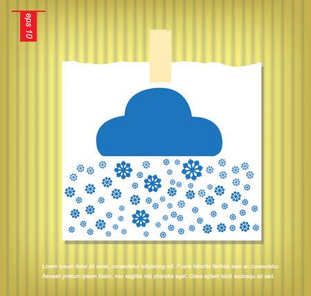 sticky tape: la nube y del copo de nieve vector icono en papeles de nota con una cinta adhesiva pegada en el icono de la pared vector