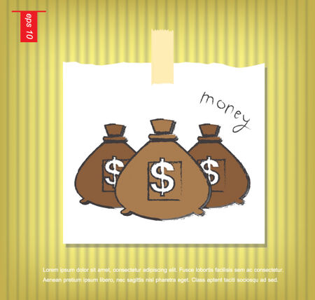 sticky tape: Icono de dinero con tres bolsas, vector de papeles de nota con una cinta adhesiva pegada en el icono de la pared vector
