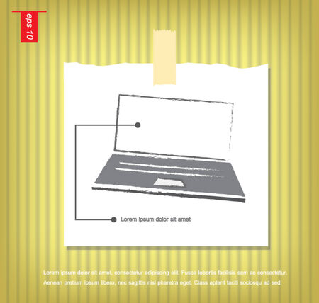 sticky tape: Port�til aislados en gris ilustraci�n de fondo Vector icono en papeles de nota con una cinta adhesiva pegada en el icono de la pared vector