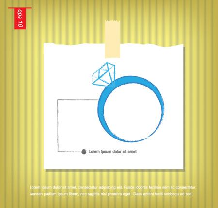 sticky tape: Ilustraci�n vectorial de un anillo de diamantes en papeles de nota con una cinta adhesiva pegada en el icono de la pared vector Vectores
