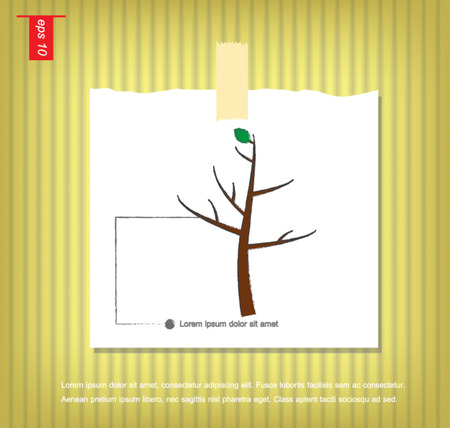 which one: tree on which one leaf vector  in Note Papers with a sticky tape stuck on the wall vector icon