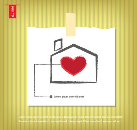 sticky tape: Casa suave con coraz�n rojo dentro ilustraci�n vectorial en papeles de nota con una cinta adhesiva pegada en el icono de la pared vector