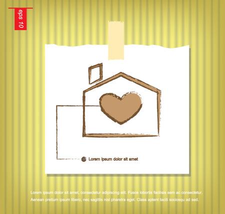 sticky tape: Casa suave con coraz�n dentro de ilustraci�n vectorial en papeles de nota con una cinta adhesiva pegada en el icono de la pared vector