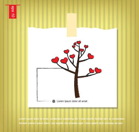 sticky tape: �rbol y el icono del coraz�n del vector en papeles de nota con una cinta adhesiva pegada en el icono de la pared vector
