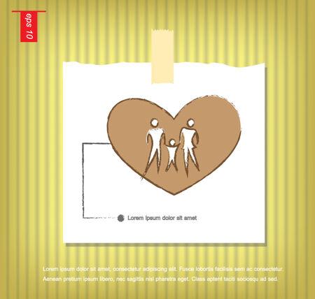 sticky tape: Ilustraci�n de los iconos de la familia en el coraz�n, aislado en gris vector de fondo en papeles de nota con una cinta adhesiva pegada en el icono de la pared vector