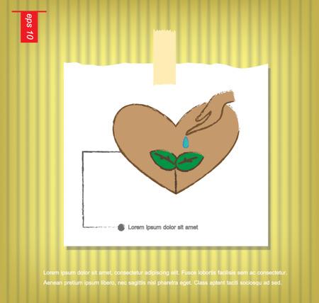sticky tape: ca�da de la mano del agua en el �rbol en el icono del vector del coraz�n en papeles de nota con una cinta adhesiva pegada en el icono de la pared vector Vectores