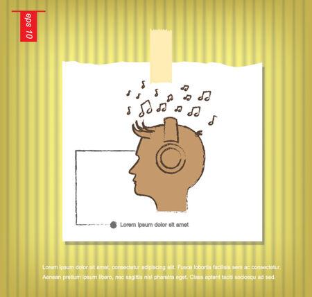 sticky tape: Hombre que escucha la m�sica icono del vector en papeles de nota con una cinta adhesiva pegada en el icono de la pared vector