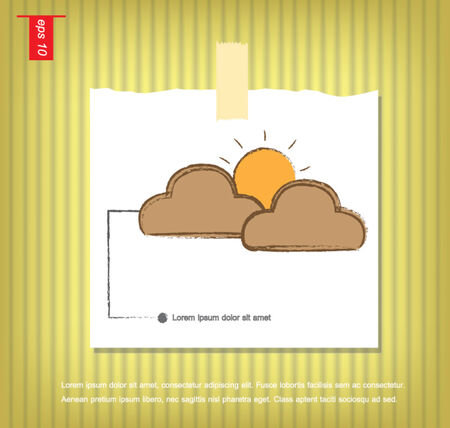 cloud and sun vector icon  in Note Papers with a sticky tape stuck on the wall vector icon Vector