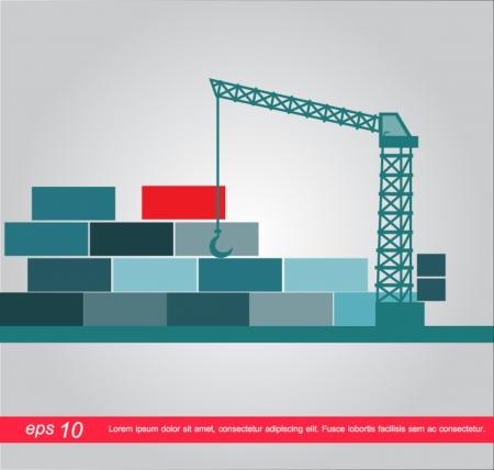 dockyard: Crane and container icon