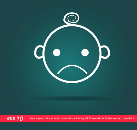 baby sad icon Vector