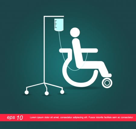 patients: patient on wheelchair with the saline icon Illustration