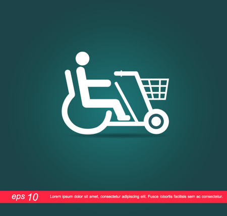 disabled on bicycle icon Vector