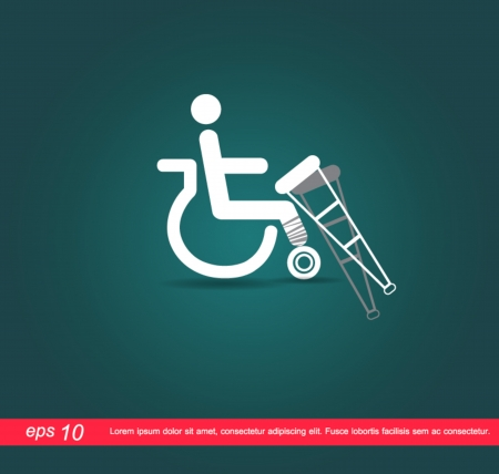 disabled with staff icon Vector