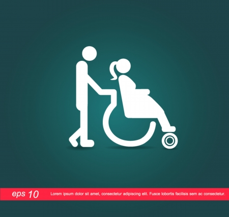 hospital corridor: Pregnant on wheelchair icon Illustration