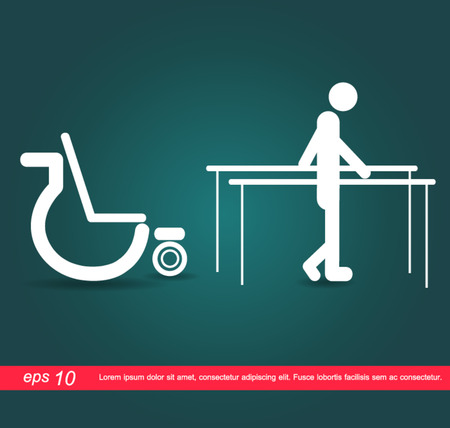 human walk out wheelchair icon Vector