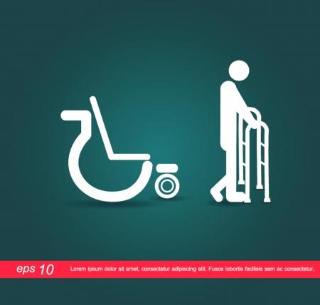 menselijk lopen rolstoel pictogram