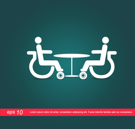 disabled meeting at table vector icon Vector