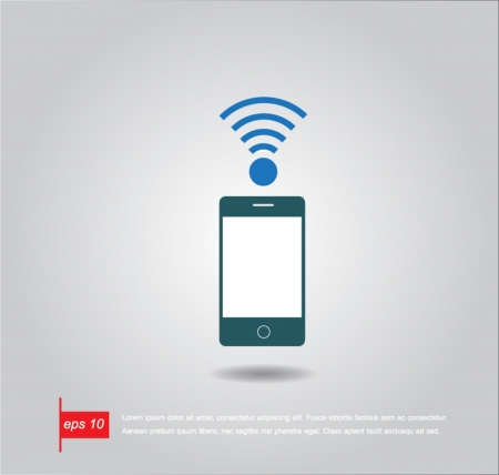 wifi sign: phone and wifi sign vector icon