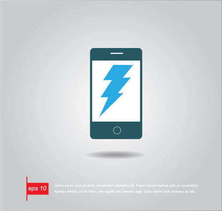 thunder sign in phone vector icon Vector
