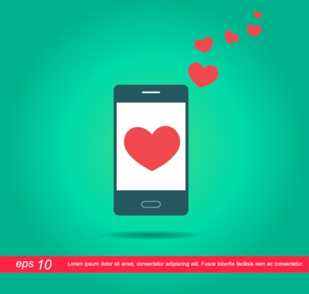 red heart in mobile phone vector icon Vector